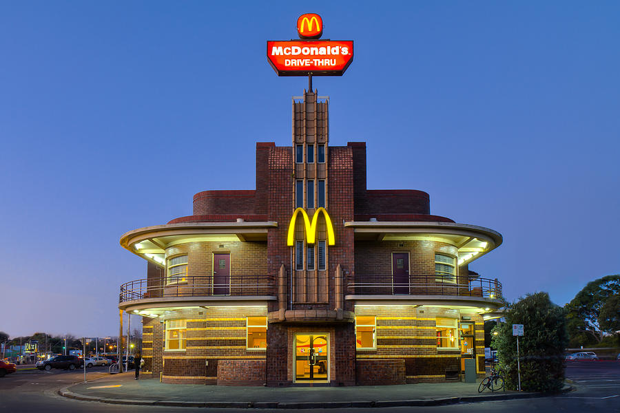 Art Deco McDonalds in Blue Hour and HDR Photograph by Tim McRae