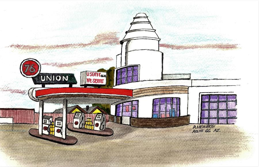 Art Deco Route 66 Drawing