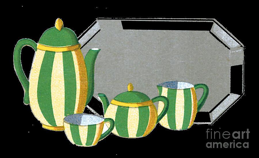 Art Deco Tea Set Illustration Painting