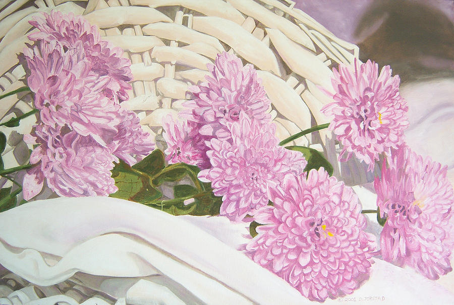 Still Life Painting - Floral Art Print For Sale Still Life Oil Painting  by Diane Jorstad