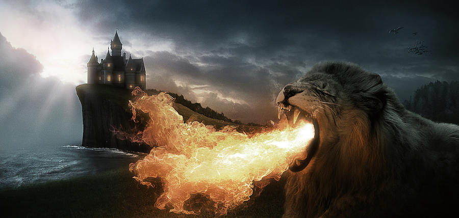 Lion Digital Art - Art - Lion of Fire by Matthias Zegveld