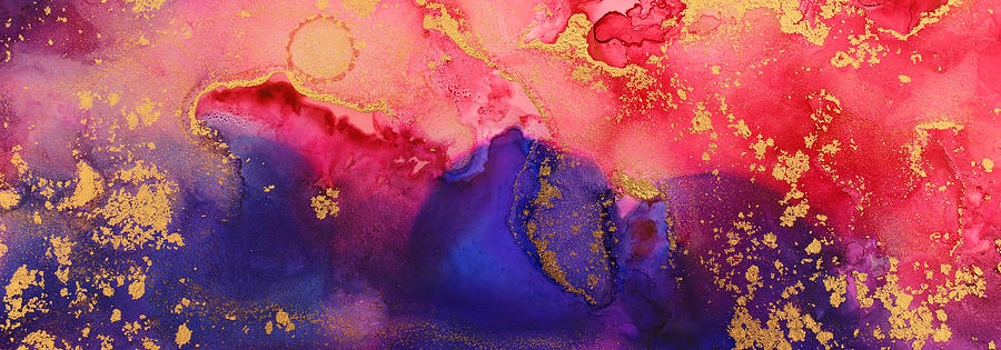 Art Photography Of Abstract Fluid Art Painting With Alcohol Ink, Pink, Red, Purple And Gold Colors Drawing