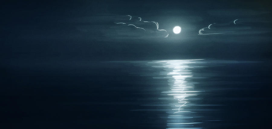 Moon Digital Art - Art - Reflection of the Moon by Matthias Zegveld