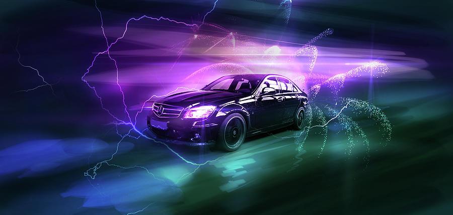 Mercedes Digital Art - Art - The Awesome Mercedes by Matthias Zegveld