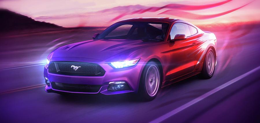Cars Digital Art - Art - The Great Ford Mustang by Matthias Zegveld