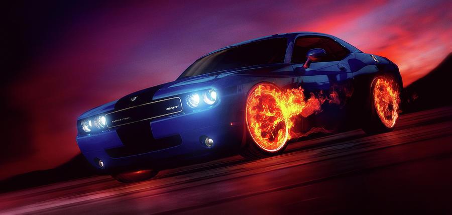 Cars Digital Art - Art - Wheels on Fire by Matthias Zegveld