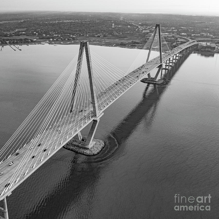 Arthur Ravenel Jr Bridge Black And White Photograph