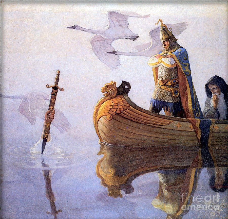 Arthur Receives Excalibur From The Lady Of The Lake Painting