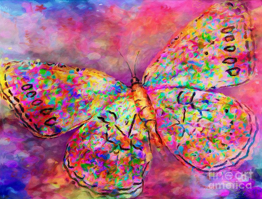 Flying Digital Art - Ascending Butterfly by Lauries Intuitive