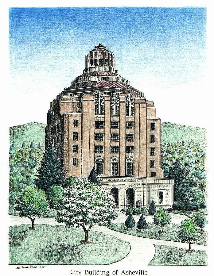 Asheville Drawing - Asheville City Building by Lee Pantas