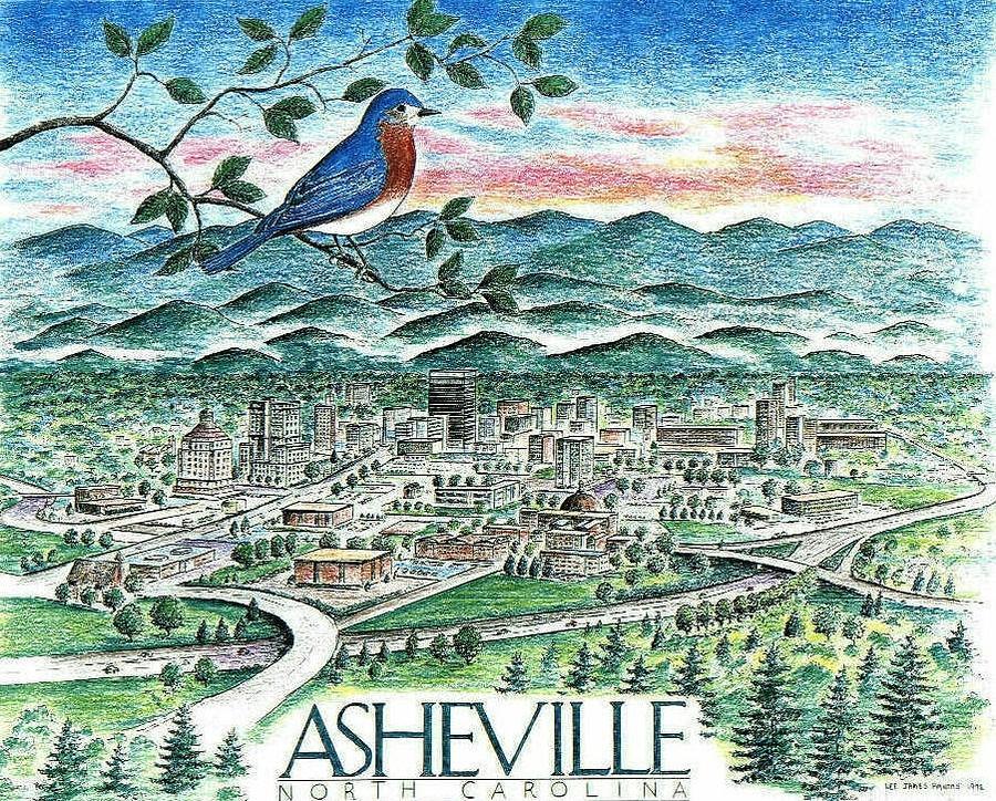 Asheville Drawing - Asheville North Carolina by Lee Pantas
