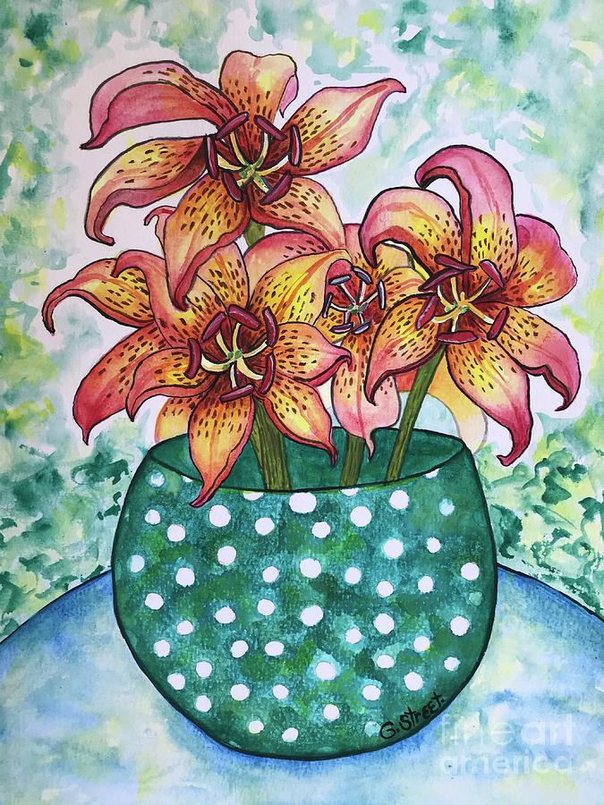 Lilies Painting - Asian Lilies in a Spotted Vase by Caroline Street