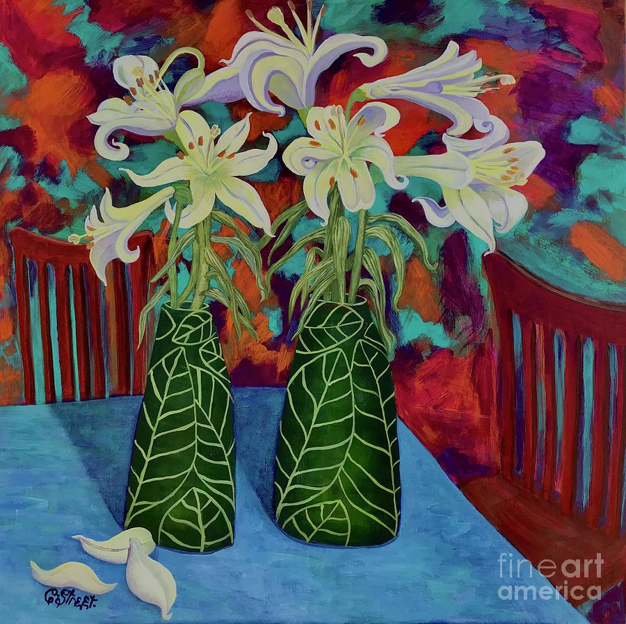 Asian Lilies In Leaf Vases Painting