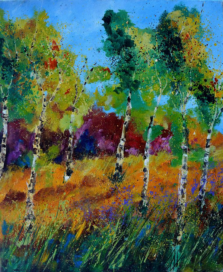 Landscape Painting - Aspen trees in autumn by Pol Ledent