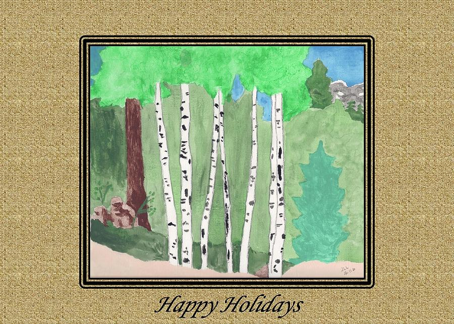 Aspens at Angel Fire #3, Acrylic on paper by Judith Lauter