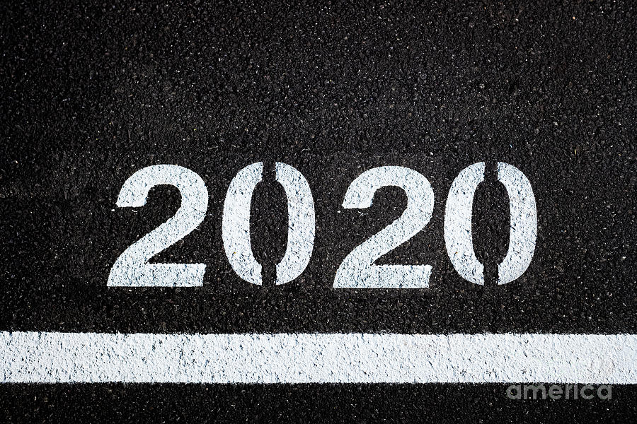 Asphalt background with 2020 new year lettering. by Joaquin Corbalan