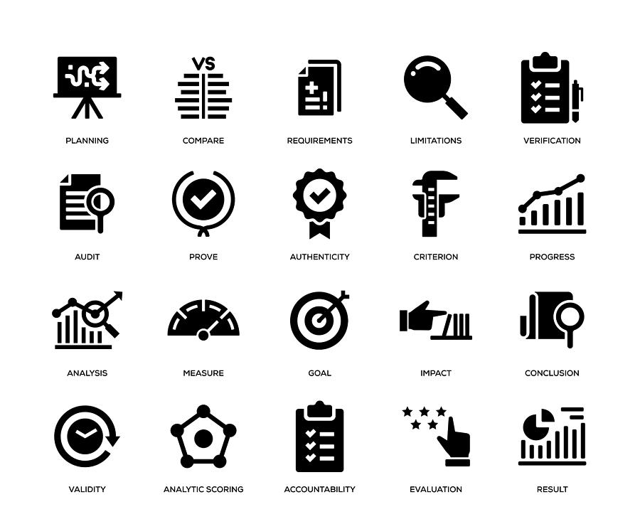 Assessment Icon Set Drawing by Enis Aksoy