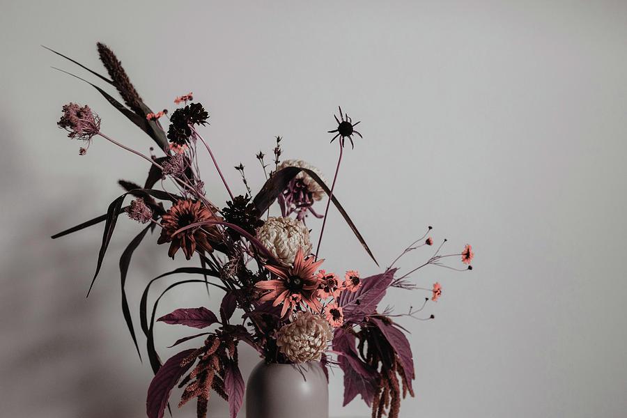 assorted flowers in vase beside wall - Surreal Art by Ahmet Asar Digital Art