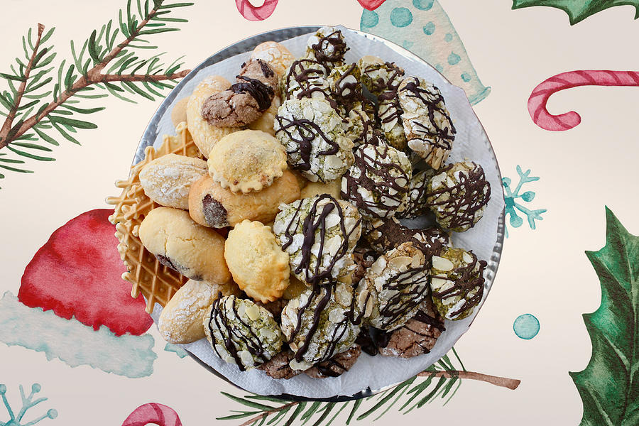 Assorted Homemade Italian Christmas Biscuits. Photograph