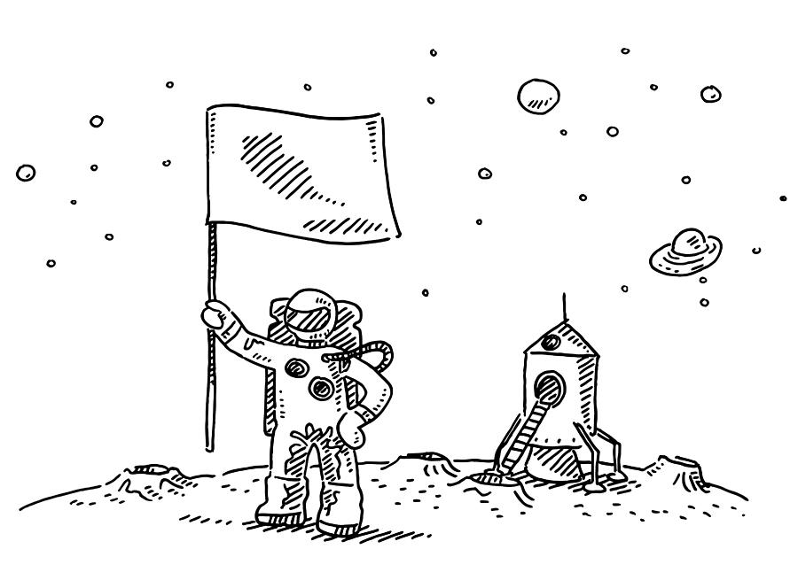 Astronaut Landing On Moon Flag Drawing Drawing by FrankRamspott