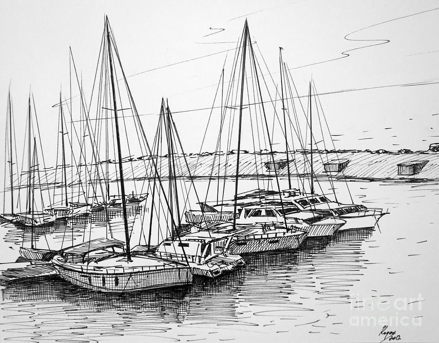 Boats Painting - At dock by Igal Kogan