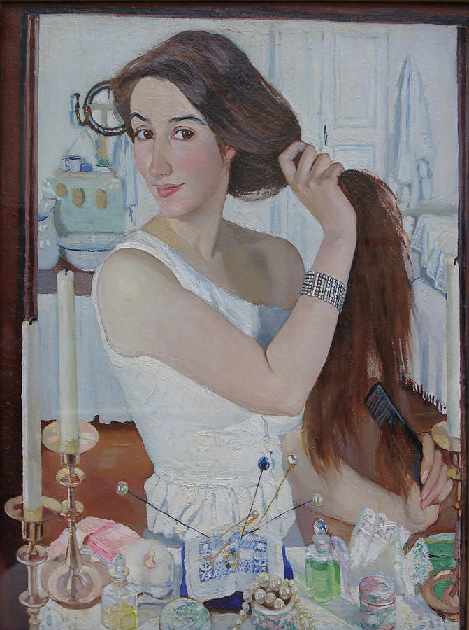 At The Dressing Table Painting by Zinaida Serebryakova