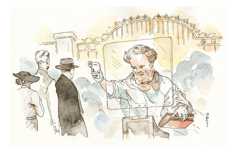 At The Pearly Gates Painting by Barry Blitt