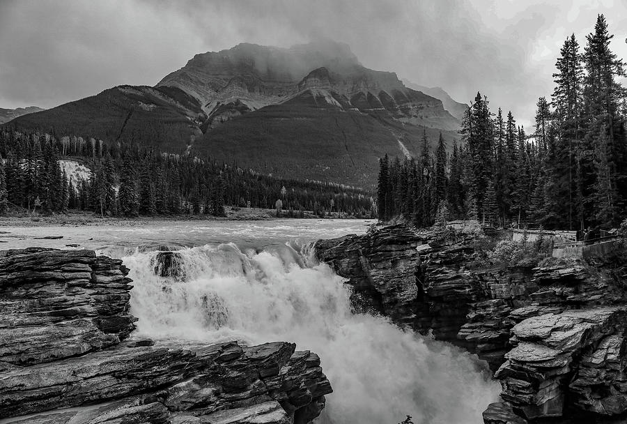 Athabasca Falls Black And White by Dan Sproul