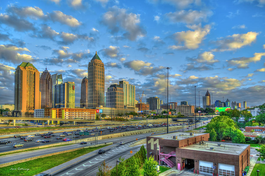 Atlanta Midtown To Downtown Sunset Reflections Skyline Cityscape Architectural Art Photograph