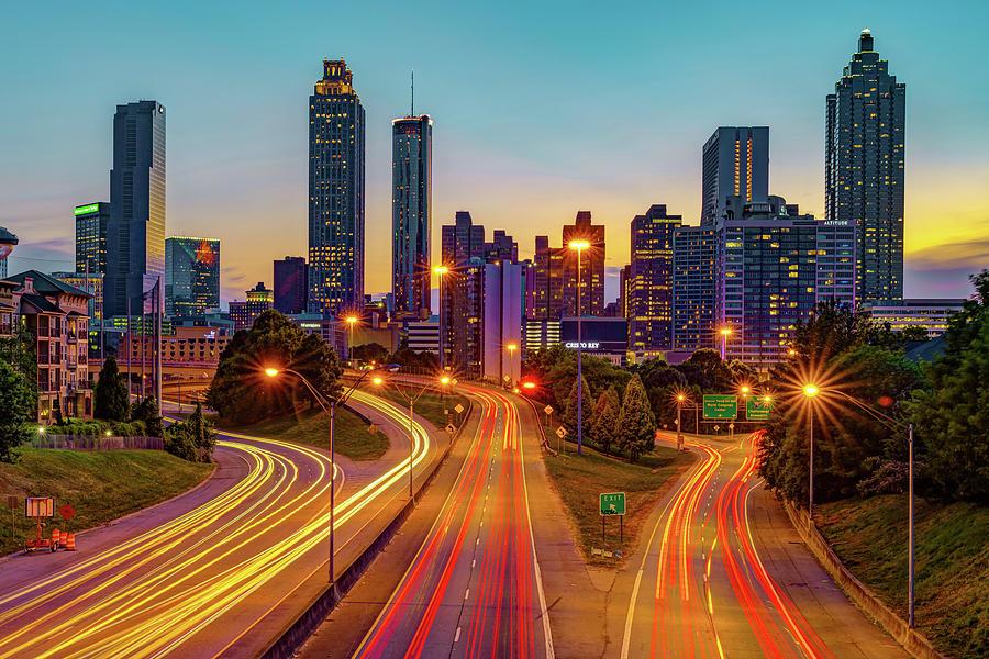 Atlanta Skyline at Sunset - Jackson Street Bridge View by Gregory Ballos