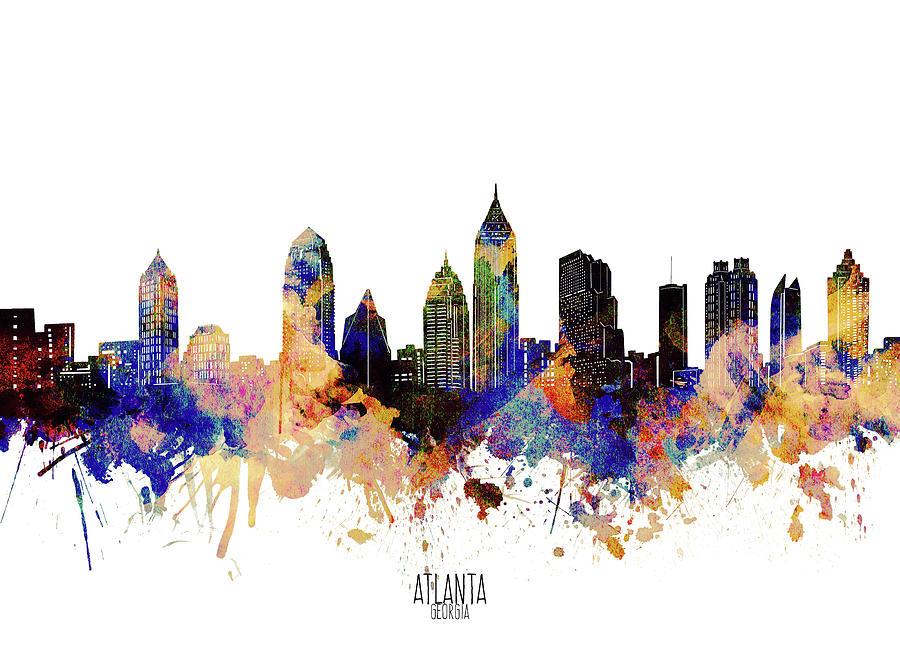 Atlanta Skyline Waterolor Grunge Digital Art