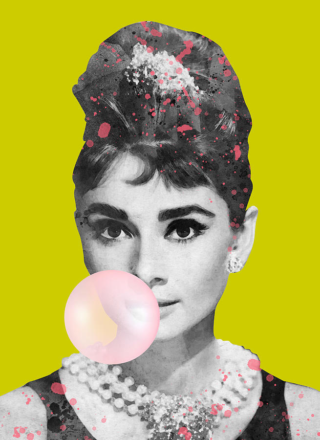 Audrey Hepburn With Bubble Gum No Background Digital Art