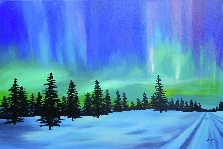 Aurora Painting - Aurora Borealis 1 by Jo Johnson