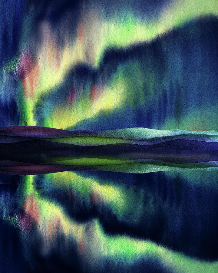 Aurora Borealis Magic Reflections Northern Lights Watercolor Painting