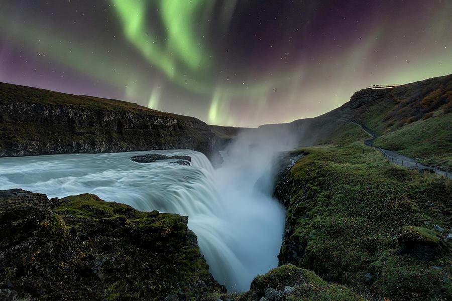Aurora Borealis Over Gullfoss Waterfall In Iceland Photograph