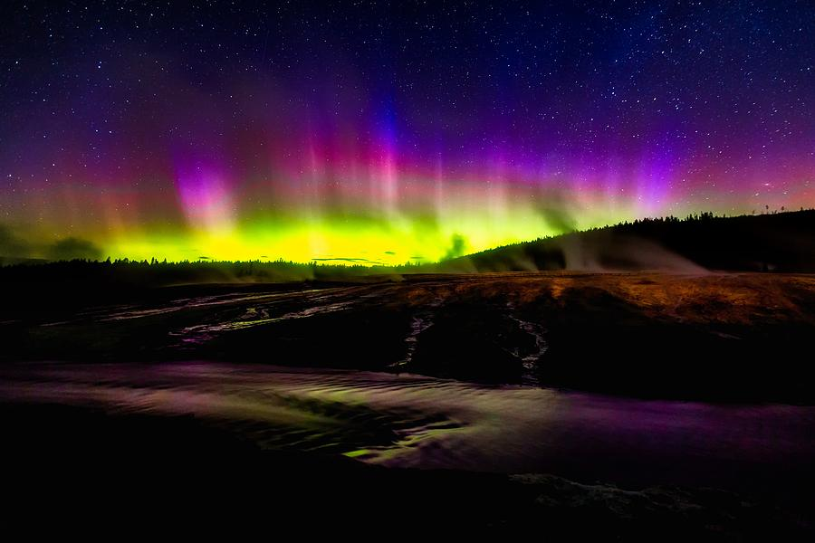Firehole River Photograph - Aurora Borealis, Yellowstone National Park by N P S Neal Herbert