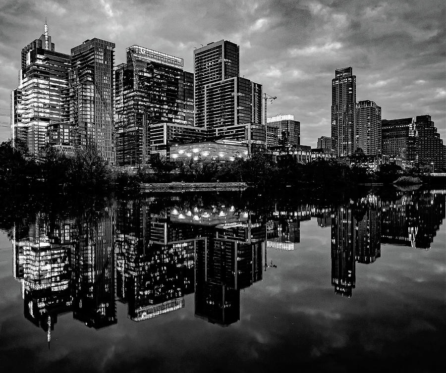 Austin City Lights Black And White Photograph