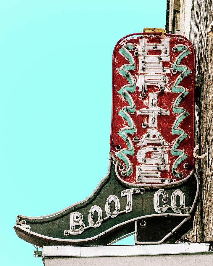 Austin Heritage Boot Co Retro Neon Sign by Gigi Ebert