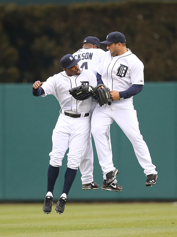 Austin Jackson, Rajai Davis, And Tyler Collins Photograph by Leon Halip