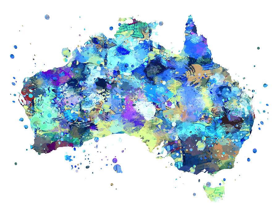 Australia Painting - Australia Map by Zuzi s