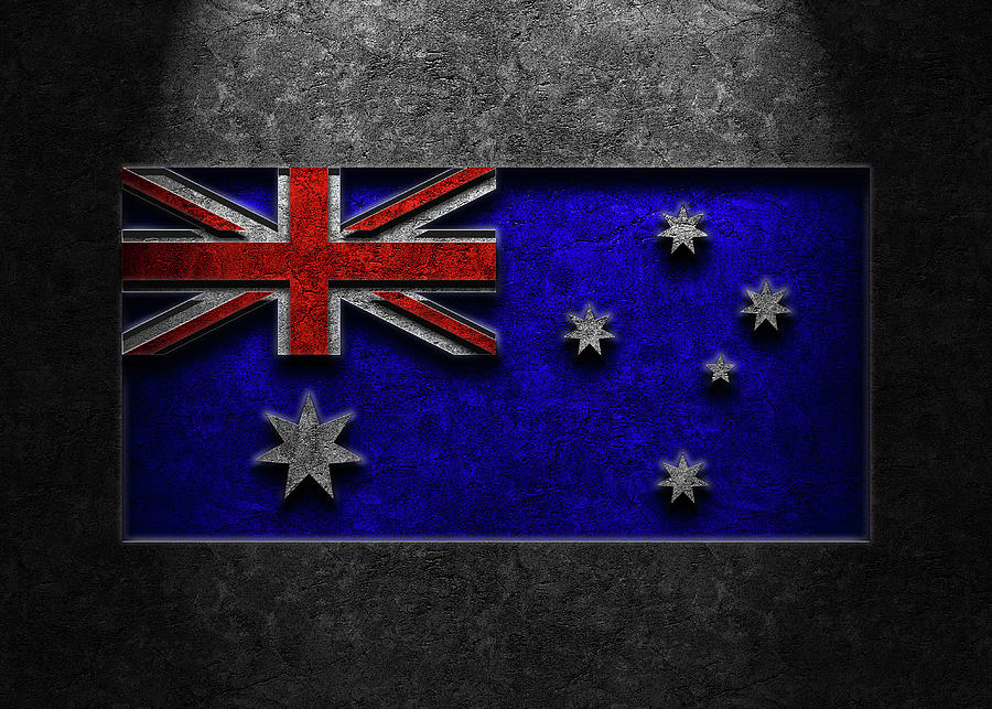 Australian Flag Stone Texture Repost Photograph