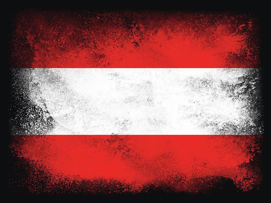 Austria Digital Art - Austria Flag by PsychoShadow ART