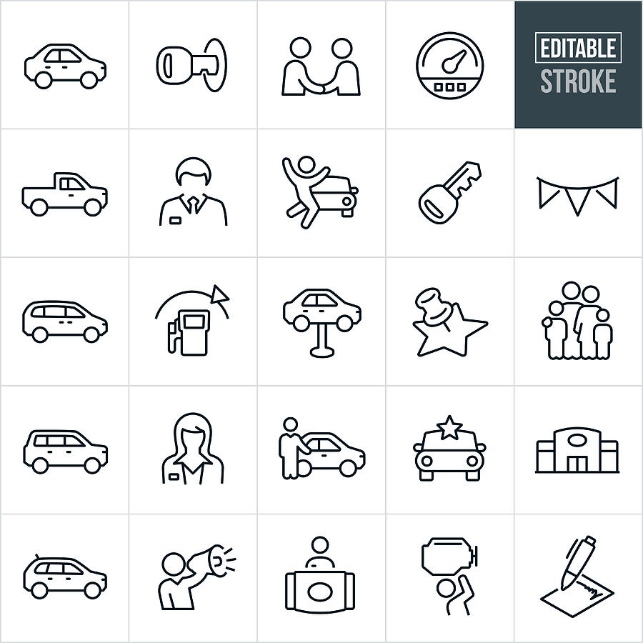 Auto Dealership Thin Line Icons - Editable Stroke Drawing by Appleuzr