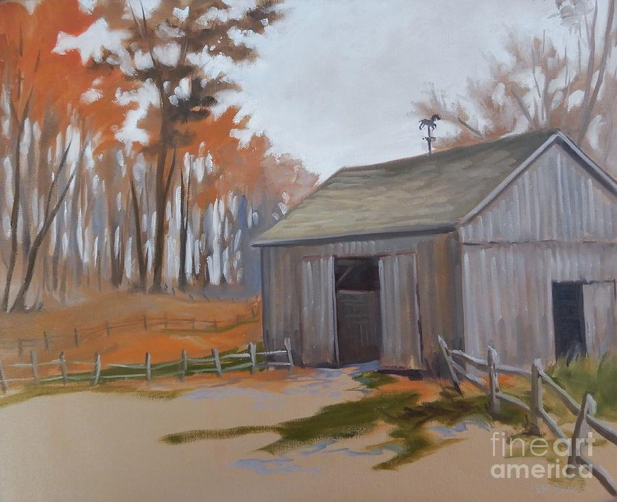 Autumn Barnwood Painting