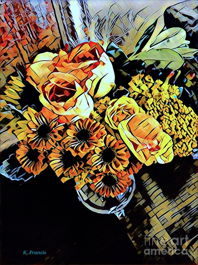 Flowers Digital Art - Autumn Bouquet by Karen Francis