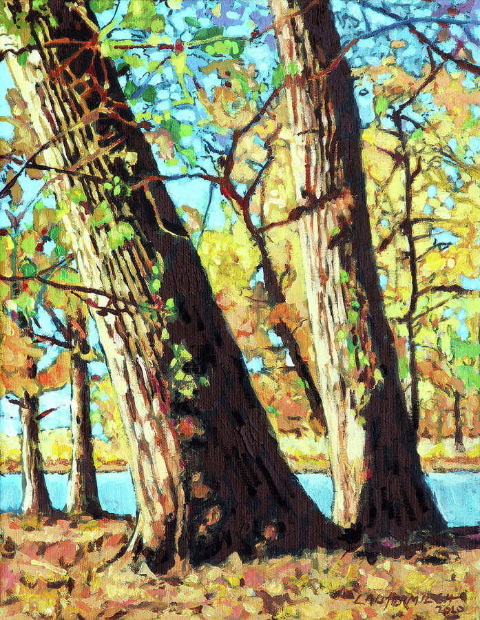 Cottonwood Trees Painting - Autumn Cottonwood Trees by John Lautermilch