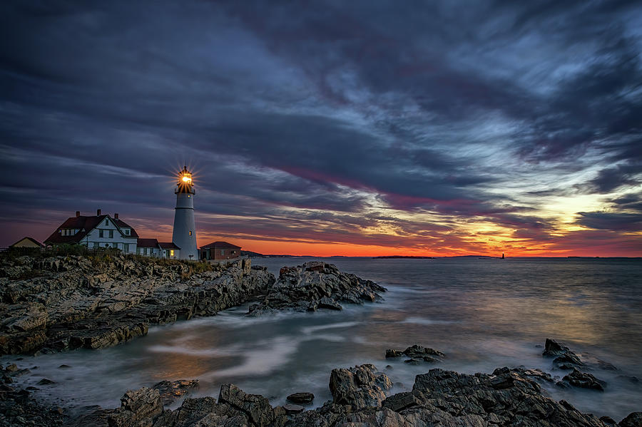 Autumn Dawn at Portland Head Light by Rick Berk
