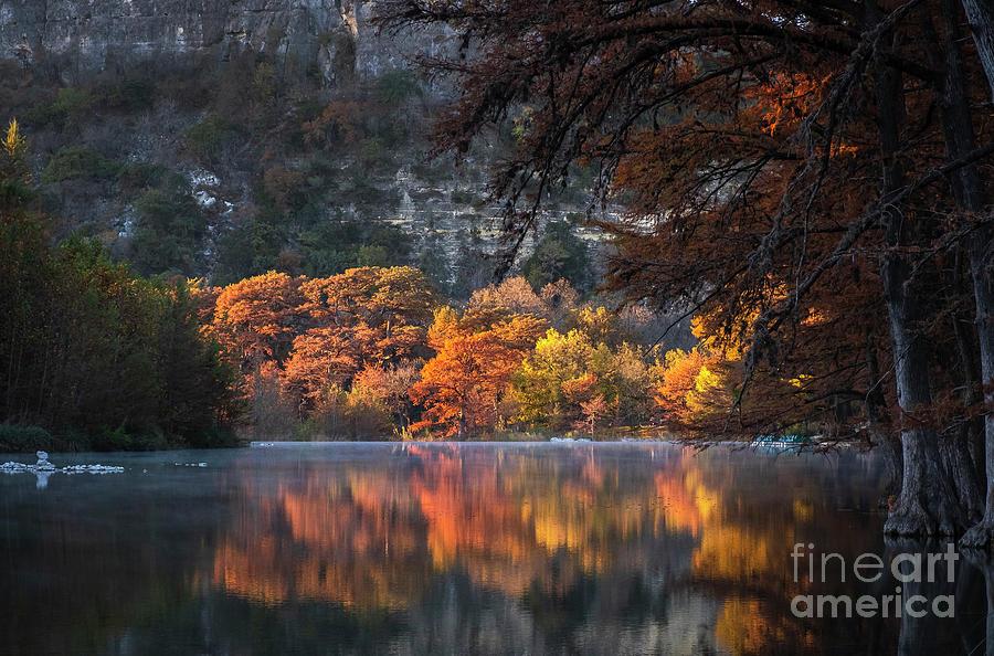Concan Photograph - Autumn Fire on the Frio by Kanokwalee Pusitanun
