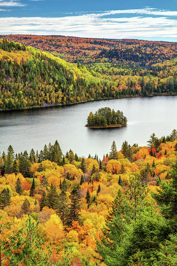 Autumn Forest Lake Landscape with a little Pine Island by Pierre Leclerc Photography