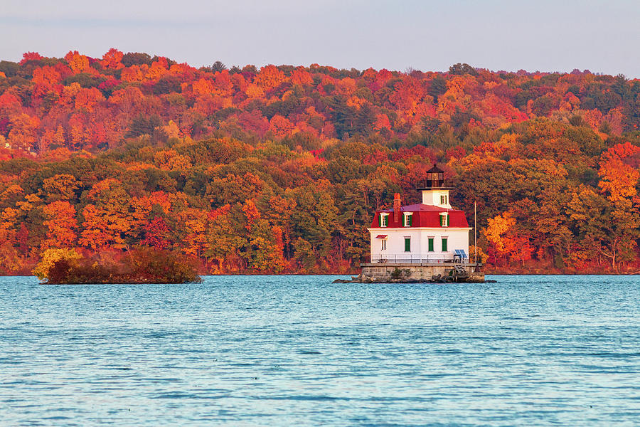 Esopus Lighthouse Photograph - Autumn Golden Hour at Esopus Light by Jeff Severson